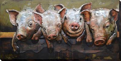 Pig Posse - Dimensional Metal Wall Art--Metal Wall Art