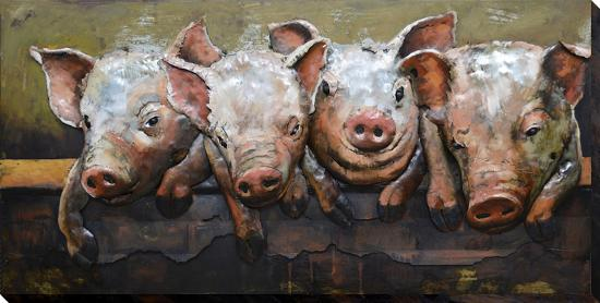 Pig Posse Dimensional Metal Wall Art Alternative Decor By
