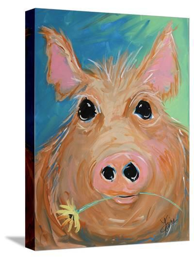 Pig With Yellow Flower-Terri Einer-Stretched Canvas Print
