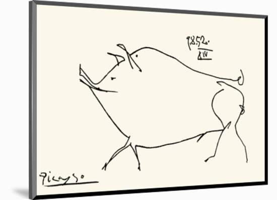 Pig-Pablo Picasso-Mounted Serigraph