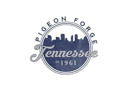 Pigeon Forge, Tennessee - Skyline Seal (Blue)-Lantern Press-Art Print