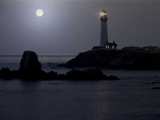 Pigeon Point Lighthouse At Full Moon-George Oze-Photographic Print