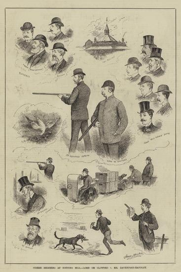 Pigeon Shooting at Notting Hill, Lord De Clifford V Mr Davenport-Handley-Horace Morehen-Giclee Print