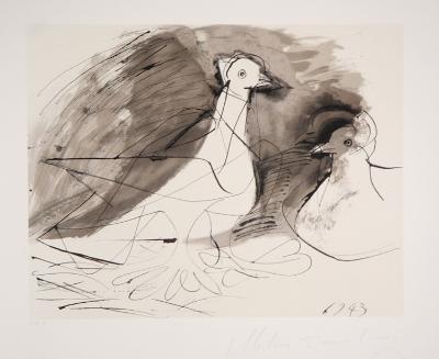 Pigeons, 27-3-Pablo Picasso-Premium Edition