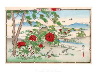 Pigeons among Peonies-Rinsai Utsushi-Art Print