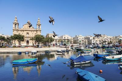 Pigeons in Flight over the Water at Marsaxlokk-Alex Hare-Photographic Print