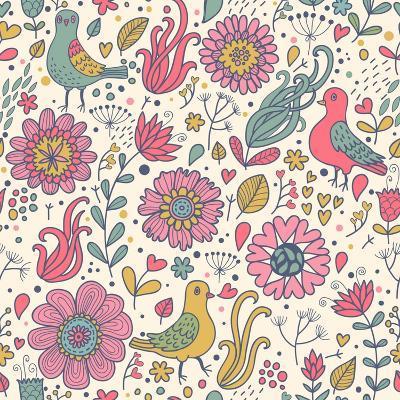 Pigeons in Flowers-smilewithjul-Art Print