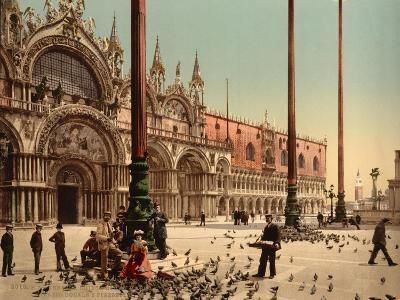 Pigeons in St. Mark's Place, Venice, Italy, C.1890-C.1900--Giclee Print
