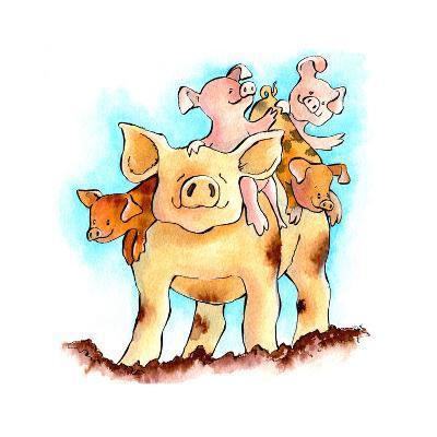 Piggy Back-Emma Graham-Giclee Print