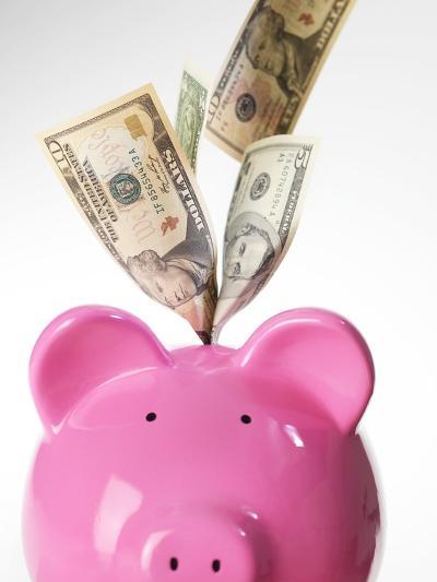Piggy Bank And US Dollars-Tek Image-Photographic Print