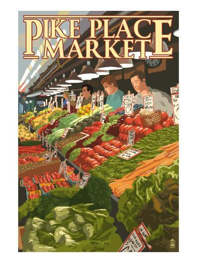 Pike Place Market Produce - Seattle, WA-Lantern Press-Art Print