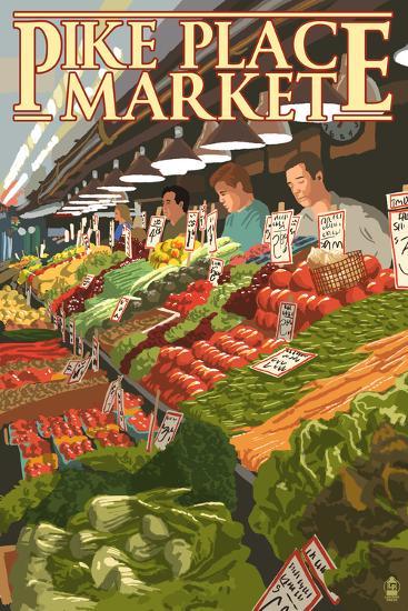 Pike Place Market Produce - Seattle, WA-Lantern Press-Wall Mural