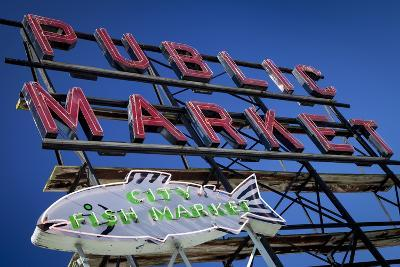Pike Place Market sign near the waterfront, Seattle, Washington, USA-Brian Jannsen-Photographic Print