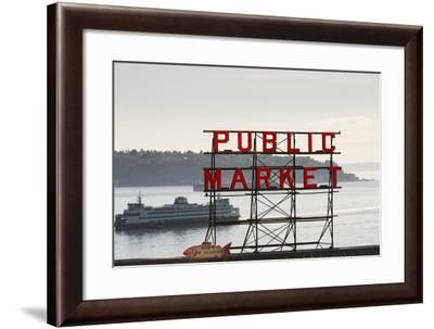 Pike Place Market Sign.-Jon Hicks-Framed Photographic Print