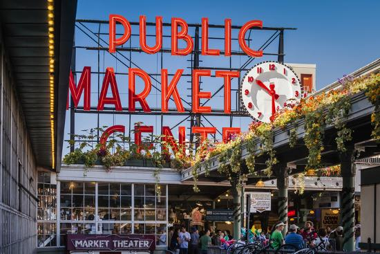Pike Place Public Market by the Seattle waterfront, Washington, USA-Brian Jannsen-Photographic Print