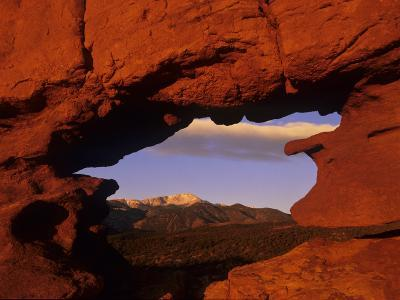Pike's Peak Framed Through a Rock Window, Colorado, USA-Jerry Ginsberg-Photographic Print