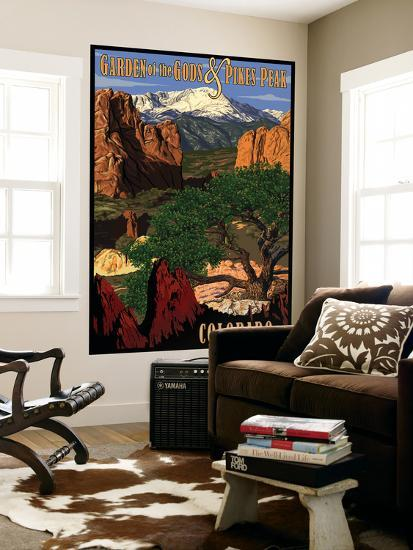 Pikes Peak from Garden of the Gods, Colorado-Lantern Press-Wall Mural