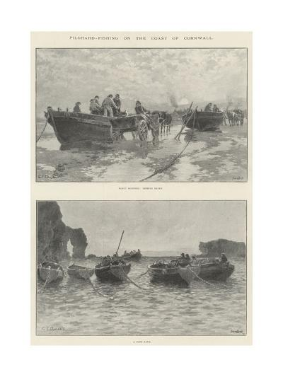 Pilchard-Fishing on the Coast of Cornwall--Giclee Print