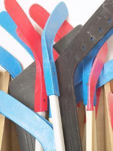Pile of Hockey Sticks