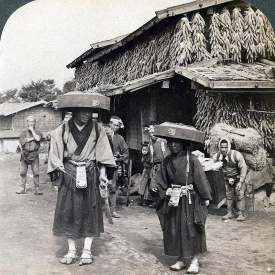 Pilgrim Beggars Beating Little Gongs, Near Lake Kawaguchi, Japan, 1904-Underwood & Underwood-Photographic Print