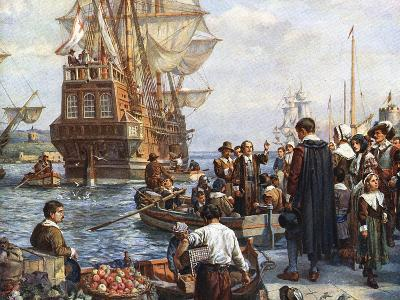 Pilgrim Fathers Boarding the Mayflower--Giclee Print