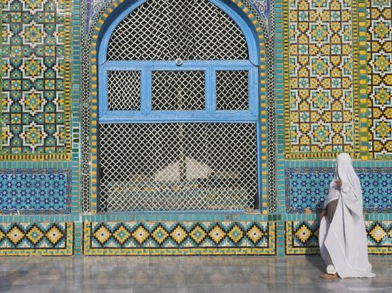 Pilgrim in a Burqa Passing the Shrine of Hazrat Ali-Jane Sweeney-Photographic Print