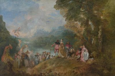 Pilgrimage to Cythera (Embarkation for Cyther), 1717-Jean Antoine Watteau-Giclee Print