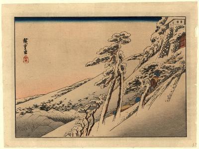 Pilgrims Ascending Snow-Covered Hillside Toward Temple at Summit-Utagawa Hiroshige-Giclee Print