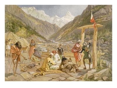 Pilgrims at Gangootree, from 'India Ancient and Modern', 1867 (Colour Litho)-William 'Crimea' Simpson-Giclee Print
