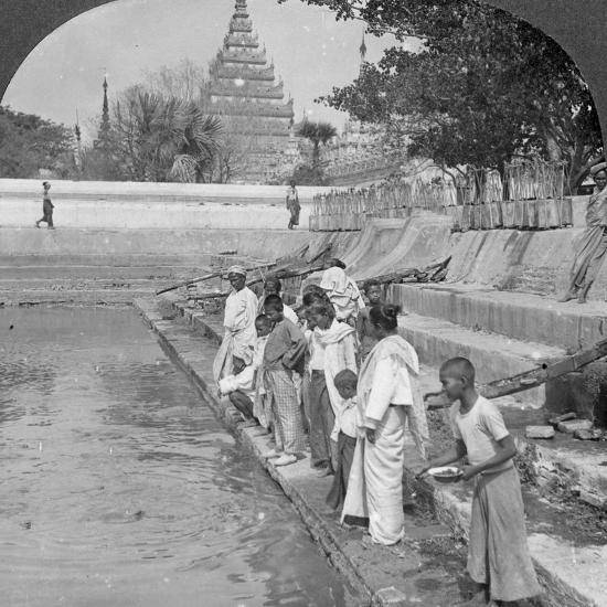 Pilgrims Feeding Holy Turtles, Arakan Pagoda, Mandalay, Burma, 1908--Photographic Print