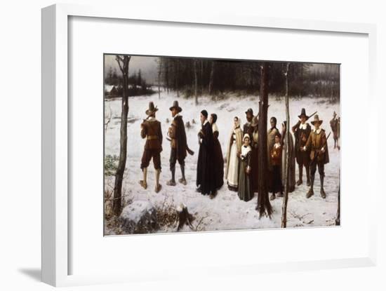 Pilgrims Going to Church, 1867-George Henry Boughton-Framed Premium Giclee Print