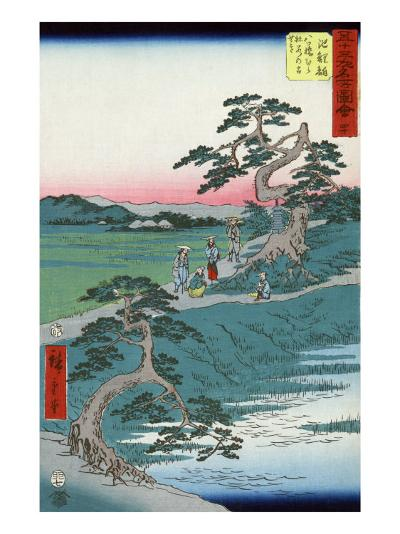 Pilgrims Pausing at a Fork in the Road, Japanese Wood-Cut Print-Lantern Press-Art Print