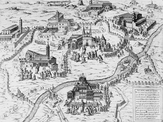 Pilgrims Visiting Seven Churches of Rome During Holy Year of 1575, Italy, 16th Century--Giclee Print