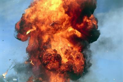 Pillar of Fire Due To Explosion-David Nunuk-Photographic Print