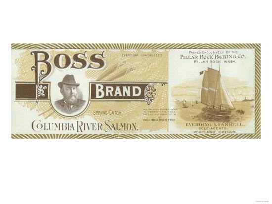 Pillar Rock, Washington - Boss Salmon Label-Lantern Press-Art Print