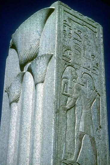 Pillar with Papyrus motif (symbol of Lower Egypt), Temple of Amun, Karnak, Egypt. Artist: Unknown-Unknown-Giclee Print
