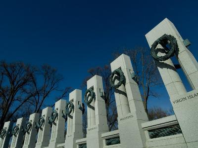 Pillars Adorned with Bronze Wreaths at World War II Memorial-Todd Gipstein-Photographic Print