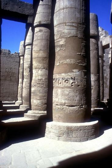 Pillars in the Great Hypostyle Hall, Temple of Amun, Karnak, Egypt, 14th-13th century BC-Unknown-Giclee Print