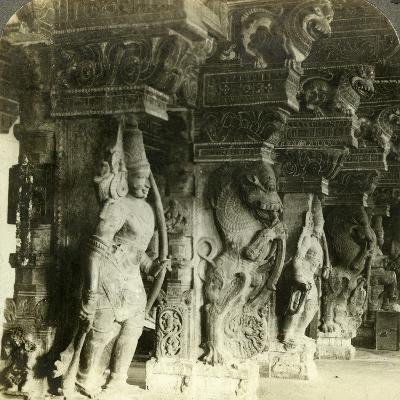 Pillars of a Hindu Temple, Madurai, India, C1900s-Underwood & Underwood-Photographic Print