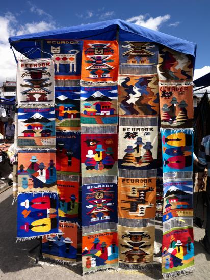 Pillow Covers for Sale at a Handicraft Market, Otavalo, Imbabura Province, Ecuador--Photographic Print