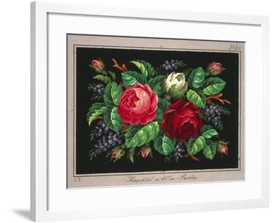 Pillow or Carpet Pattern with Roses and Wisteria--Framed Giclee Print