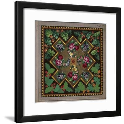 Pillow or Carpet Pattern with Roses, Violets, Forget-Me-Not, Primulas, Berries and Acorns--Framed Giclee Print