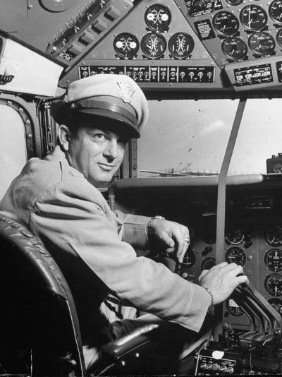 "Pilot Lt. Col. Henry T. Myers on President Harry S. Truman's New Plane ""The Independence""-Peter Stackpole-Photographic Print"