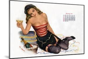 Pin Up Celebrating New Year with Champagne, Esquire Girl Calendar 1950 (January)
