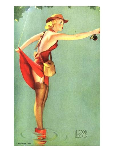 Pin-Up Fishing with Skirt Caught in Hook, 1940--Giclee Print