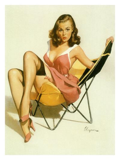 Pin-Up Girl: Beach Chair--Giclee Print
