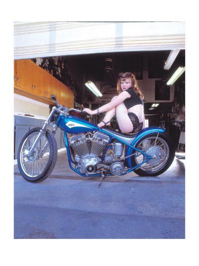 Pin-Up Girl: Blue Chopper-David Perry-Giclee Print
