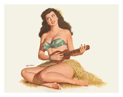 Pin Up Girl Playing Ukelele c.1951-Al Moore-Giclee Print