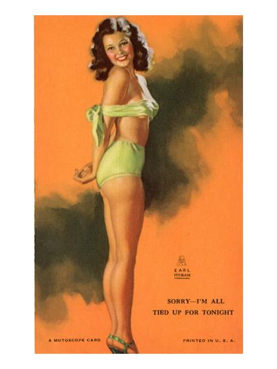 Pin-Up Girl Tied Up in Bathing Suit, 1940--Giclee Print