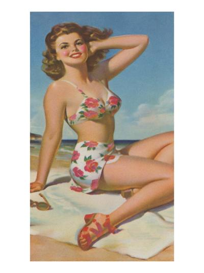 Pin-Up in Flowered Two-Piece--Art Print